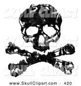 Clip Art of a Grungy Black and White Skull and Crossbones over White by Arena Creative