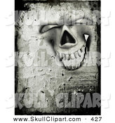 Clip Art of a Grungy Creepy Happy and Laughing Skull Face with Cement Texture by KJ Pargeter