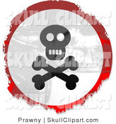 Clip Art of a Grungy Red, White and Black Circular Jolly Roger Skull and Crossbones Sign by Prawny
