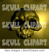 Clip Art of a Halloween Spooky Human Skull with Dark Eye Holes, over a Yellow Background by AtStockIllustration