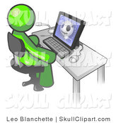 Clip Art of a Lime Green Medical Doctor Man Sitting at a Computer and Viewing an Xray of a Head by Leo Blanchette