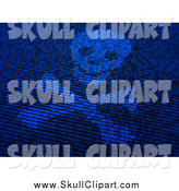 Clip Art of a Malware Skull and Crossbone and Blue Binary Coe by Mopic