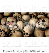 Clip Art of a Pile of Human Skulls, One with a Red Nose by Frank Boston