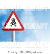 Clip Art of a Red and White Triangular Jolly Roger Street Sign Against a Blue Sky with Clouds by Prawny