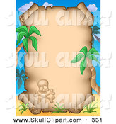 Clip Art of a Skull and Crossbones with Palm Trees Framing an Aged Parchment Page by Visekart