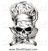 Clip Art of a Skull Chef over Crossed Knives and Whisk by LoopyLand