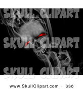 Clip Art of a Smokey Red Eyed Skull on Solid Black by KJ Pargeter
