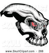 Clip Art of a Spooky Demonic Skull with Red Eyes by Chromaco
