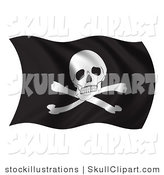 Clip Art of a Waving Pirate Flag by Stockillustrations