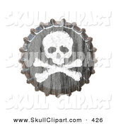 Vector Clip Art of a 3d Bottle Cap with a Skull and Crossbones over White by Arena Creative