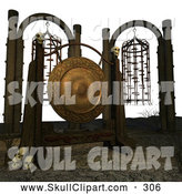 Vector Clip Art of a 3d Gong with Skulls and Cages Hanging by Ralf61