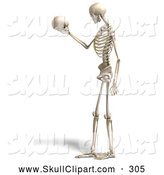 Vector Clip Art of a 3d Human Male Skeleton Gazing at a Skull and Thinking by Ralf61