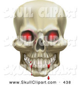 Vector Clip Art of a 3d Red Eyed Skull with Blood Dripping on the Teeth by AtStockIllustration