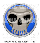Vector Clip Art of a 3d Shiny Blue Circular Skull Icon Button on White by Leo Blanchette