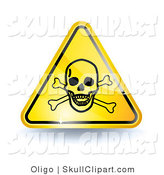 Vector Clip Art of a 3d Shiny Yellow Poison Sign with a Skull and Crossbones by Oligo