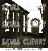 Vector Clip Art of a 3d Skulls on Medieval Shelves by Ralf61
