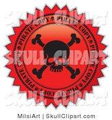 Vector Clip Art of a Black and Red Skull Pirate Copy Label Seal by MilsiArt