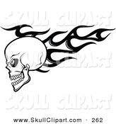 Vector Clip Art of a Black and White Angry Flaming Skull Logo by Vector Tradition SM