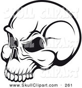 Vector Clip Art of a Black and White Angry Skull Logo by Vector Tradition SM