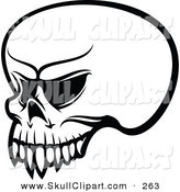 Vector Clip Art of a Black and White Angry Skull Outline Logo by Vector Tradition SM