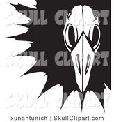 Vector Clip Art of a Black and White Bird Skeleton Skull over a Black Splatter by Xunantunich