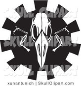 Vector Clip Art of a Black and White Bird Skull over a Gear on White by Xunantunich