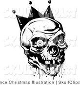 Vector Clip Art of a Black and White Bloody Joker Skull with Missing Teeth and One Eyeball by Lawrence Christmas Illustration