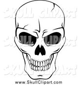 Vector Clip Art of a Black and White Cracked Grinning Skull by Vector Tradition SM