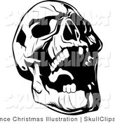 Vector Clip Art of a Black and White Evil Skull Tilting Its Head Back and Laughing by Lawrence Christmas Illustration