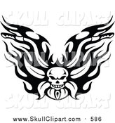 Vector Clip Art of a Black and White Fiery Skull Motorcycle Biker Handlebars by Vector Tradition SM