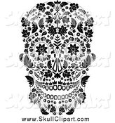 Vector Clip Art of a Black and White Floral Day of the Dead Skull by Lineartestpilot