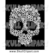 Vector Clip Art of a Black and White Floral Skull over Black by Vector Tradition SM
