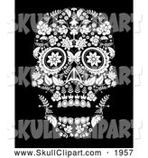 Vector Clip Art of a Black and White Flowered Day of the Dead Skull by Lineartestpilot