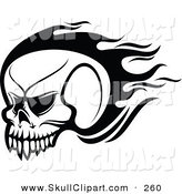 Vector Clip Art of a Black and White Flying Flaming Skull Logo by Vector Tradition SM