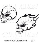 Vector Clip Art of a Black and White Flying Flaming Skulls Digital Collage by Vector Tradition SM