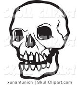Vector Clip Art of a Black and White Human Skull with Dark Eye Sockets by Xunantunich