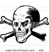 Vector Clip Art of a Black and White Mad Spooky Skull and Crossbones by Cory Thoman