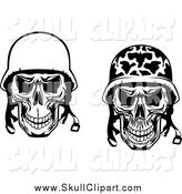 Vector Clip Art of a Black and White Military and Pilot Skulls with Helmet by Vector Tradition SM