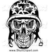 Vector Clip Art of a Black and White Military Soldier Skull by Vector Tradition SM