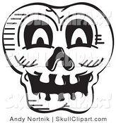Vector Clip Art of a Black and White Scary Halloween Skull by Andy Nortnik