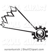 Vector Clip Art of a Black and White Shooting Human Skull Falling down by Xunantunich