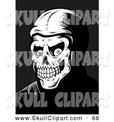Vector Clip Art of a Black and White Skeleton Face Grinning Evilly by Cory Thoman