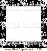 Vector Clip Art of a Black and White Skull and Crossbone Frame Around a White Center by Visekart