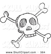 Vector Clip Art of a Black and White Skull and Crossbones Doodle Sketch on a White Background by Yayayoyo