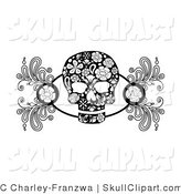Vector Clip Art of a Black and White Skull Design Element with Roses and Floral Designs by C Charley-Franzwa