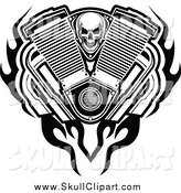 Vector Clip Art of a Black and White Skull, Engine Flames and Mufflers by Vector Tradition SM