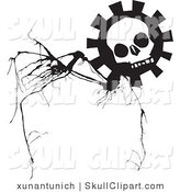 Vector Clip Art of a Black and White Skull Gear Flower on a Branch by Xunantunich