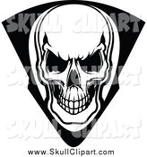 Vector Clip Art of a Black and White Skull in a Shield by Vector Tradition SM