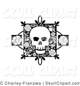 Vector Clip Art of a Black and White Skull on a Floral Square with Two Rose Accents by C Charley-Franzwa