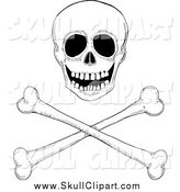 Vector Clip Art of a Black and White Skull over Crossbones by Gina Jane